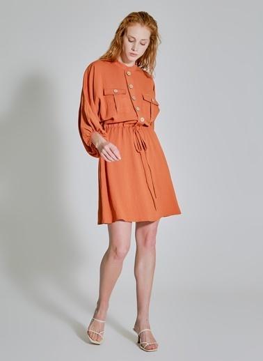 People By Fabrika Cep Detaylı Dökümlü Elbise Kiremit